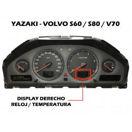 DIS4612 DISPLAY DERECHO TEMPERATURA / RELOJ CUADRO YAZAKI VOLVO S60 / S80 / V70 - ORIGINAL REACONDICIONADO
